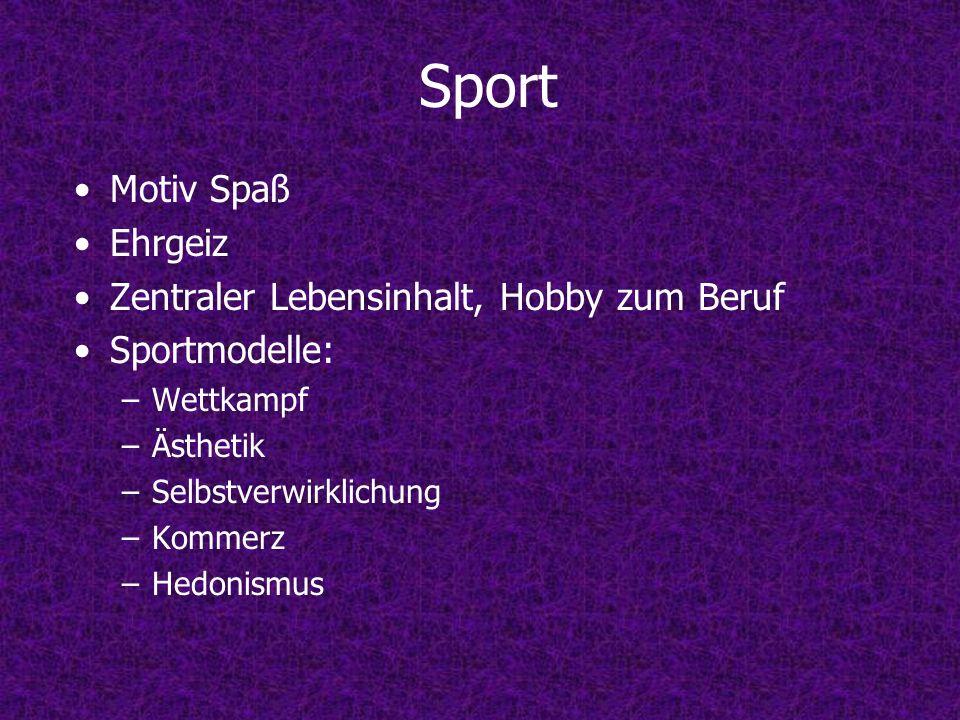 Sport Motiv Spaß Ehrgeiz Zentraler Lebensinhalt, Hobby zum Beruf Sportmodelle: –Wettkampf –Ästhetik –Selbstverwirklichung –Kommerz –Hedonismus