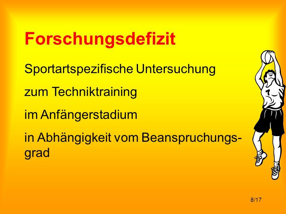 8/17 Forschungsdefizit Sportartspezifische Untersuchung zum Techniktraining im Anfängerstadium in Abhängigkeit vom Beanspruchungs- grad
