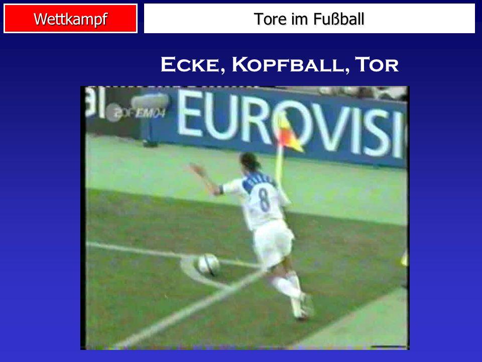 Wettkampf Tore im Fußball Flanke, Kopfball, Tor