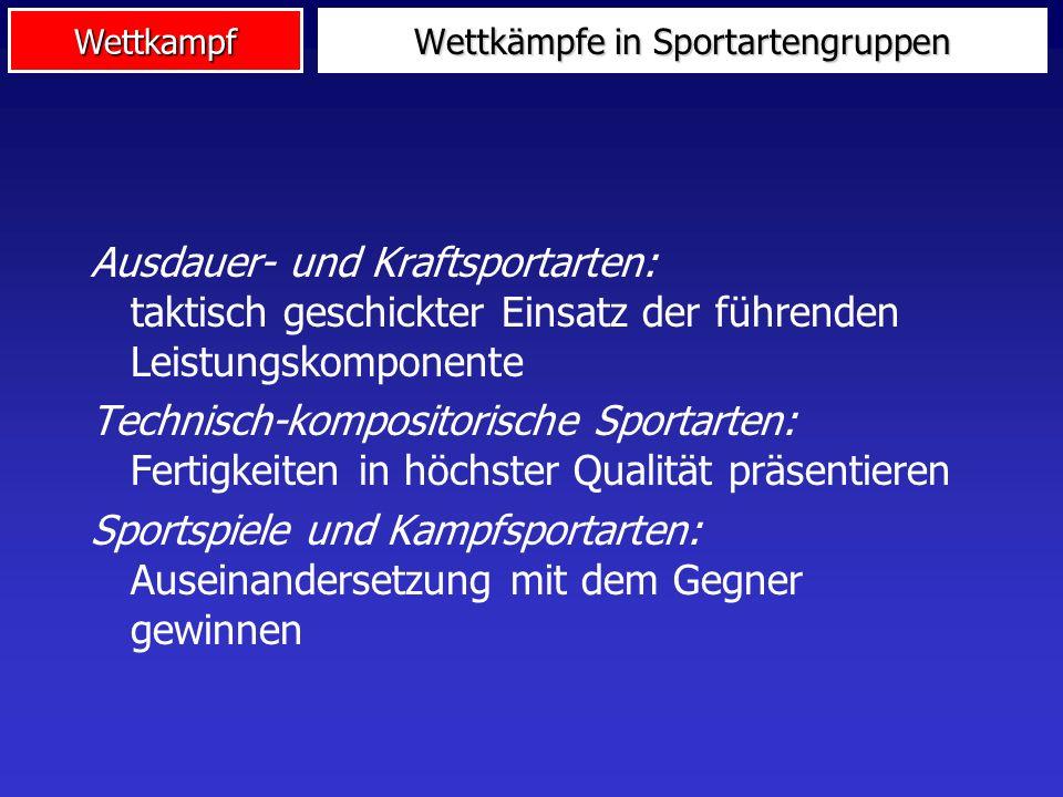 WettkampfBegriffsbestimmung Ein sportlicher Wettkampf ist ein Leistungsvergleich nach den festgelegten Regeln einer Sportart zwischen einzelnen Sportlern oder Mannschaften zum Zwecke der Ermittlung eines Siegers (einer Rangfolge).