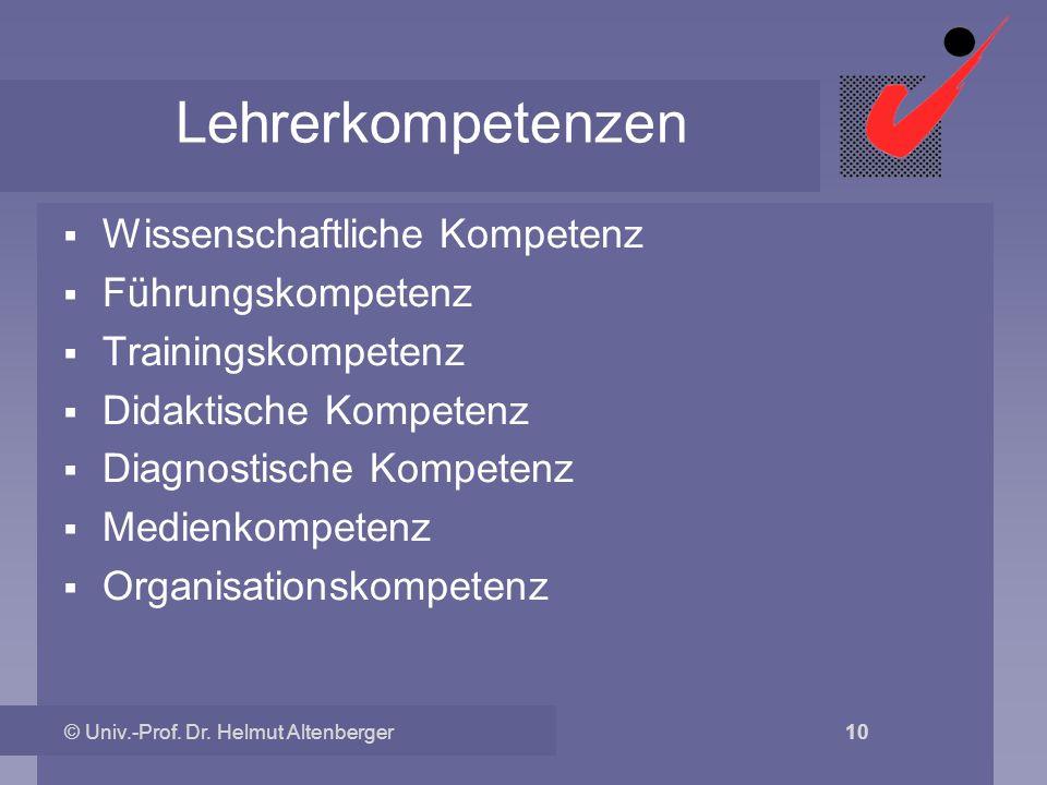 © Univ.-Prof. Dr. Helmut Altenberger 10 Lehrerkompetenzen Wissenschaftliche Kompetenz Führungskompetenz Trainingskompetenz Didaktische Kompetenz Diagn