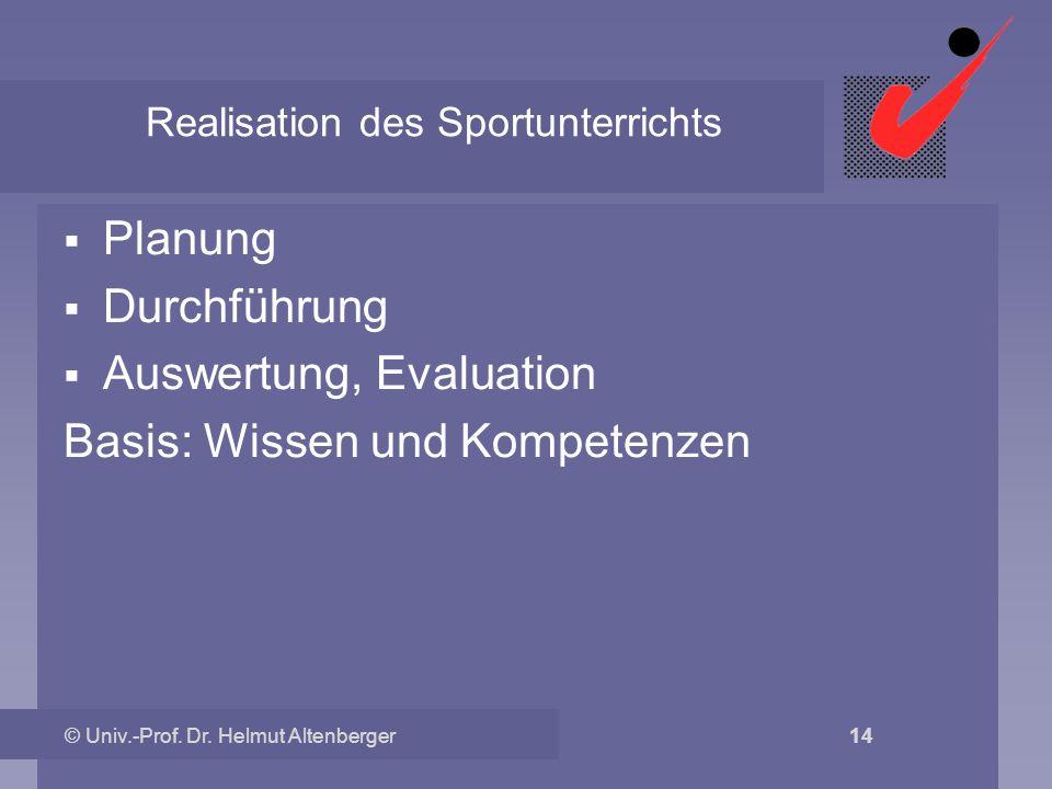 © Univ.-Prof. Dr. Helmut Altenberger 14 Realisation des Sportunterrichts Planung Durchführung Auswertung, Evaluation Basis: Wissen und Kompetenzen