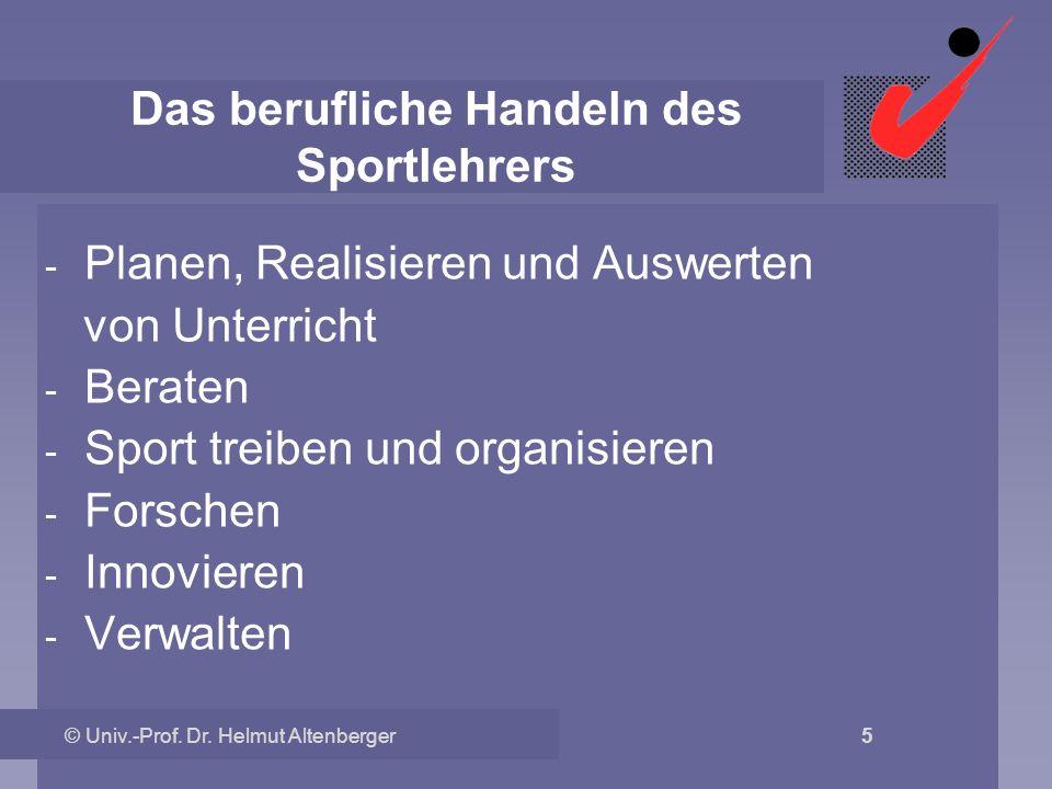 © Univ.-Prof. Dr. Helmut Altenberger 5 Das berufliche Handeln des Sportlehrers - Planen, Realisieren und Auswerten von Unterricht - Beraten - Sport tr