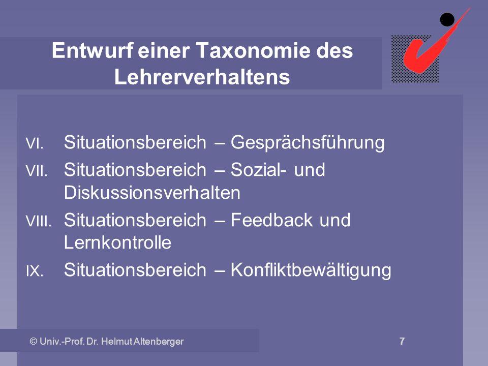 © Univ.-Prof. Dr. Helmut Altenberger 7 Entwurf einer Taxonomie des Lehrerverhaltens VI. Situationsbereich – Gesprächsführung VII. Situationsbereich –