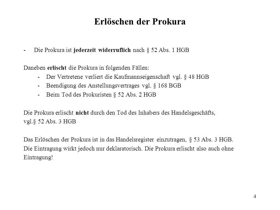 4 Erlöschen der Prokura - Die Prokura ist jederzeit widerruflich nach § 52 Abs. 1 HGB Daneben erlischt die Prokura in folgenden Fällen: -Der Vertreten