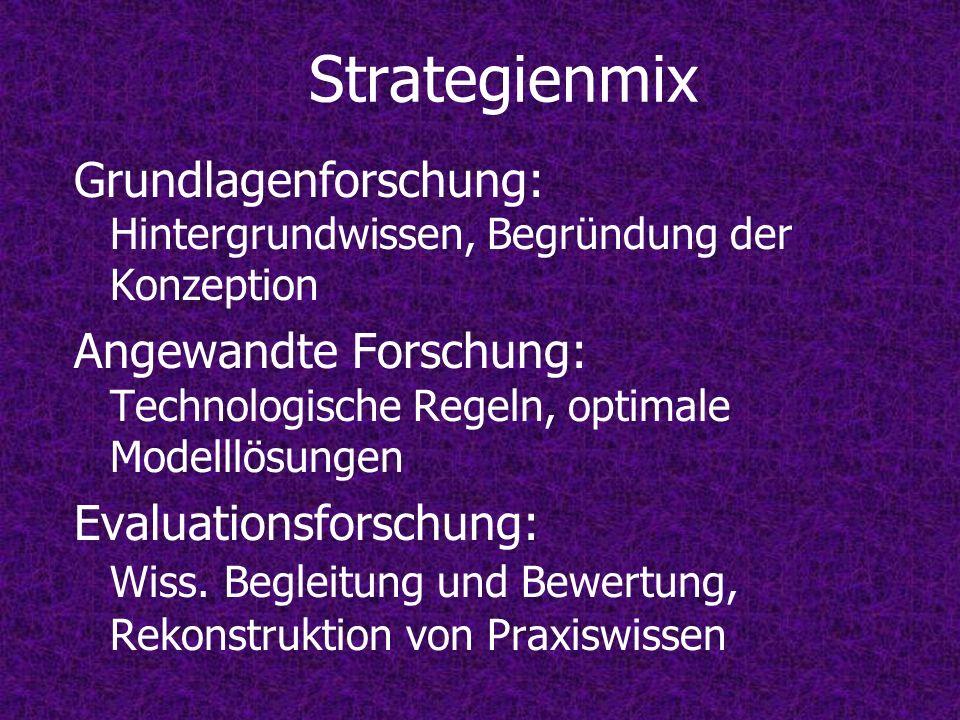 Strategienmix Grundlagenforschung: Hintergrundwissen, Begründung der Konzeption Angewandte Forschung: Technologische Regeln, optimale Modelllösungen E