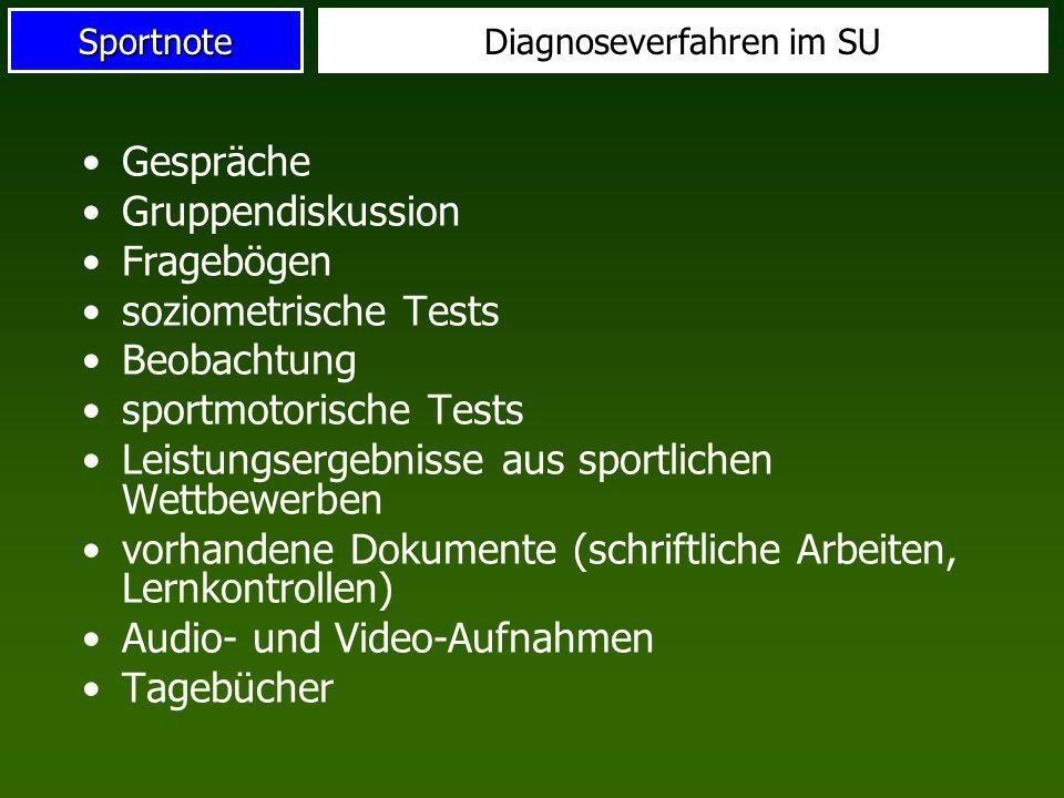 SportnoteDiagnoseverfahren im SU Gespräche Gruppendiskussion Fragebögen soziometrische Tests Beobachtung sportmotorische Tests Leistungsergebnisse aus