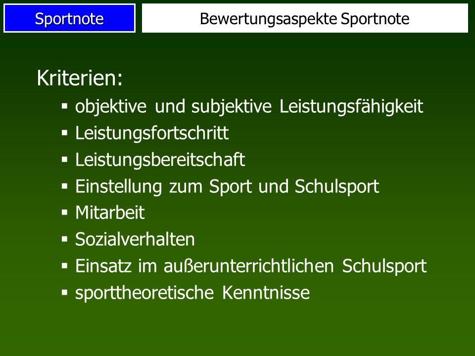 SportnoteBewertungsaspekte Sportnote Kriterien: objektive und subjektive Leistungsfähigkeit Leistungsfortschritt Leistungsbereitschaft Einstellung zum