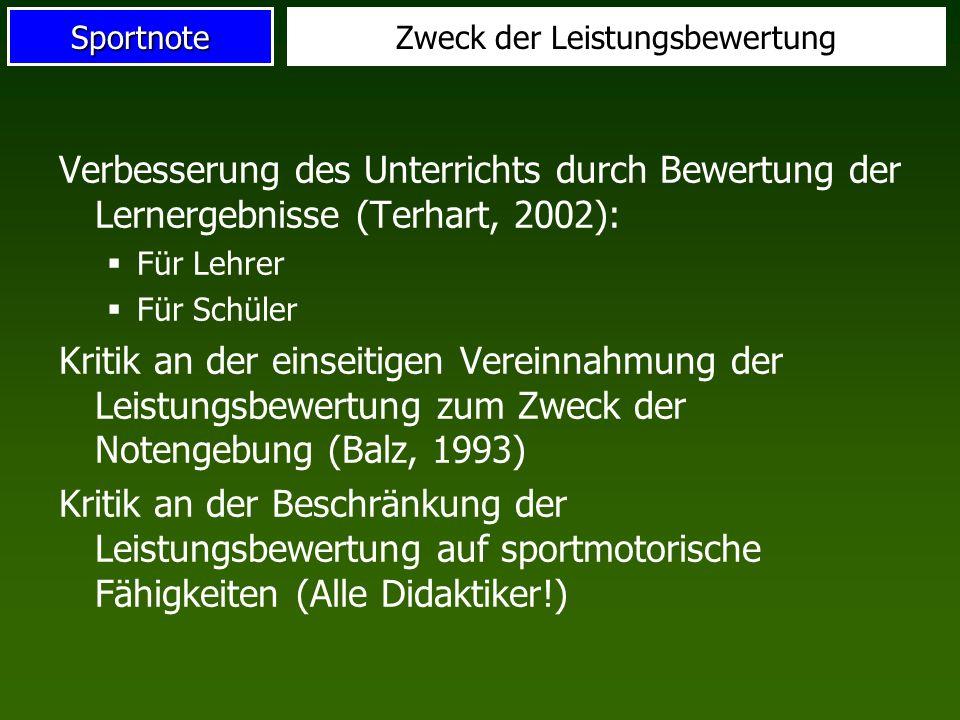 SportnoteZweck der Leistungsbewertung Verbesserung des Unterrichts durch Bewertung der Lernergebnisse (Terhart, 2002): Für Lehrer Für Schüler Kritik a