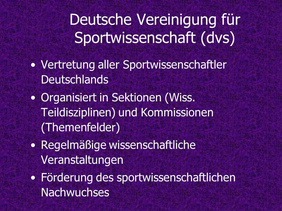 Deutsche Vereinigung für Sportwissenschaft (dvs) Vertretung aller Sportwissenschaftler Deutschlands Organisiert in Sektionen (Wiss. Teildisziplinen) u