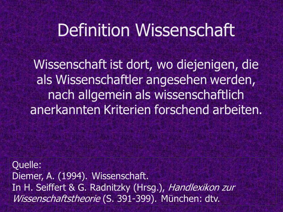 Definition Wissenschaft Quelle: Diemer, A. (1994). Wissenschaft. In H. Seiffert & G. Radnitzky (Hrsg.), Handlexikon zur Wissenschaftstheorie (S. 391-3