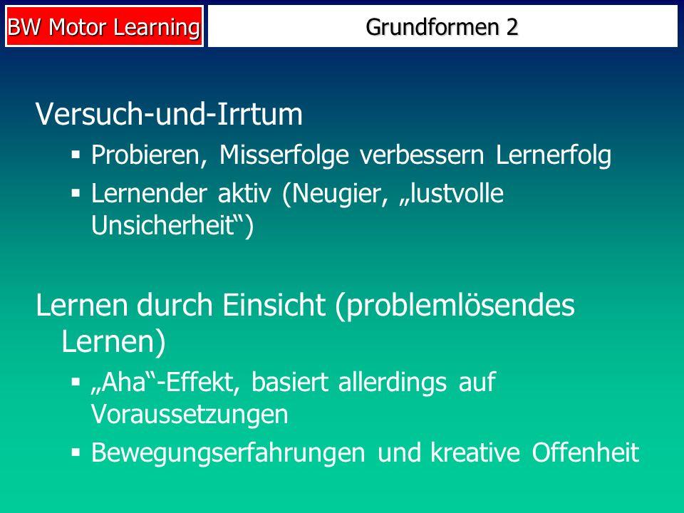 BW Motor Learning Grundformen 2 Versuch-und-Irrtum Probieren, Misserfolge verbessern Lernerfolg Lernender aktiv (Neugier, lustvolle Unsicherheit) Lern