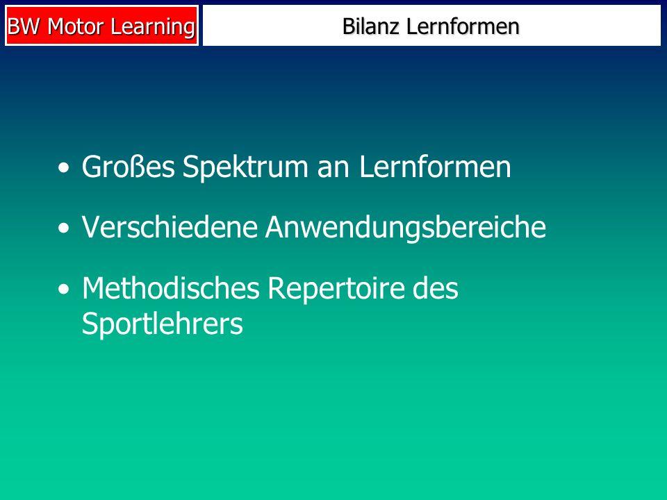 BW Motor Learning Bilanz Lernformen Großes Spektrum an Lernformen Verschiedene Anwendungsbereiche Methodisches Repertoire des Sportlehrers