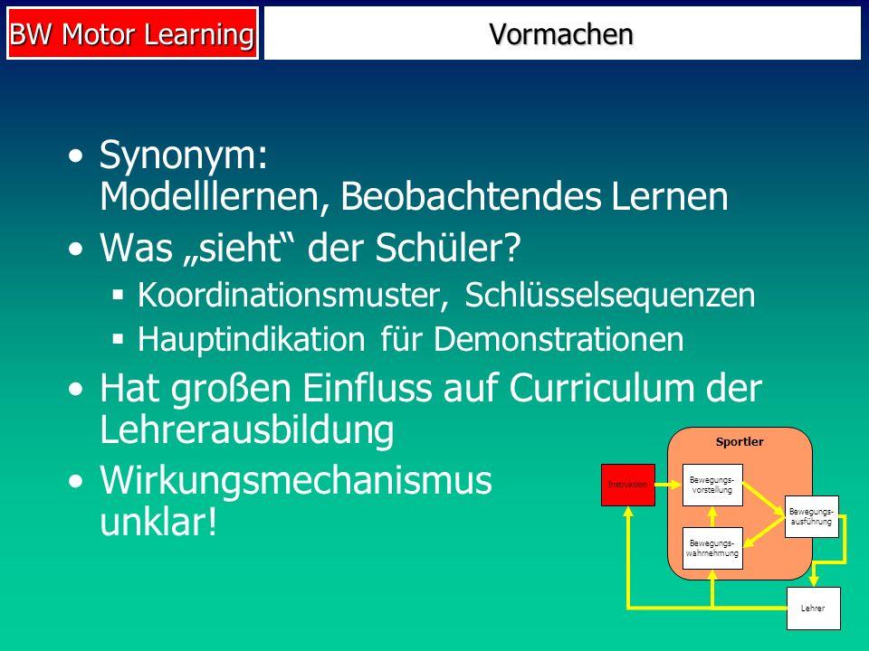 BW Motor Learning Vormachen Synonym: Modelllernen, Beobachtendes Lernen Was sieht der Schüler? Koordinationsmuster, Schlüsselsequenzen Hauptindikation