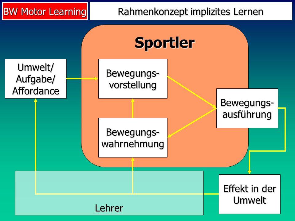 BW Motor Learning Sportler Rahmenkonzept implizites Lernen Umwelt/ Aufgabe/ Affordance Bewegungs- vorstellung Bewegungs- ausführung Bewegungs- wahrneh