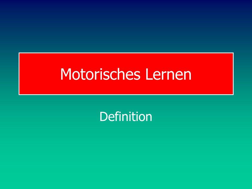 BW Motor Learning Definition Motorisches Lernen Motorisches Lernen ist eine überdauernde Veränderung in der Beherrschung einer Fertigkeit, die auf Übung oder Bewegungserfahrung zurück geht Zu unterscheiden von Reifung: genetisch programmierter Leistungszuwachs in den Fähigkeiten