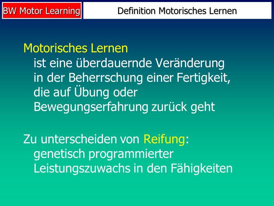 BW Motor Learning Definition Motorisches Lernen Motorisches Lernen ist eine überdauernde Veränderung in der Beherrschung einer Fertigkeit, die auf Übu