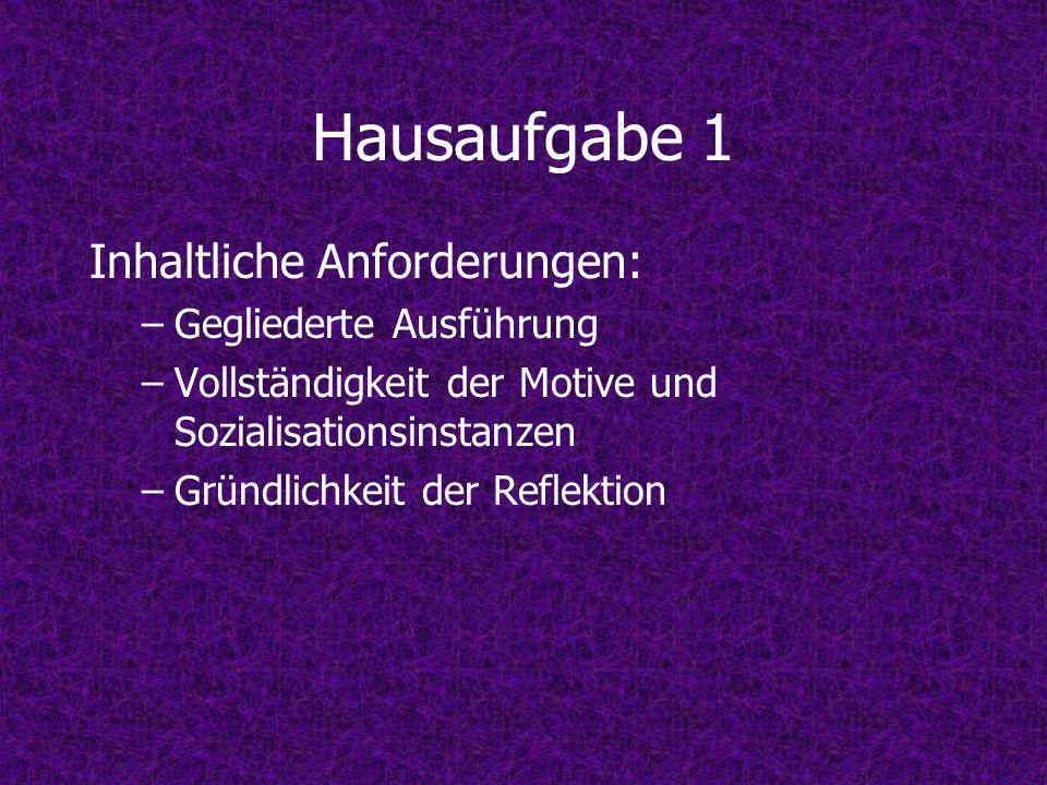 Hausaufgabe 1 Inhaltliche Anforderungen: –Gegliederte Ausführung –Vollständigkeit der Motive und Sozialisationsinstanzen –Gründlichkeit der Reflektion