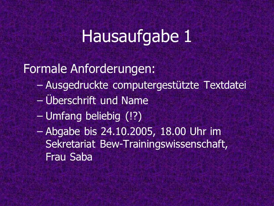 Hausaufgabe 1 Formale Anforderungen: –Ausgedruckte computergestützte Textdatei –Überschrift und Name –Umfang beliebig (!?) –Abgabe bis 24.10.2005, 18.