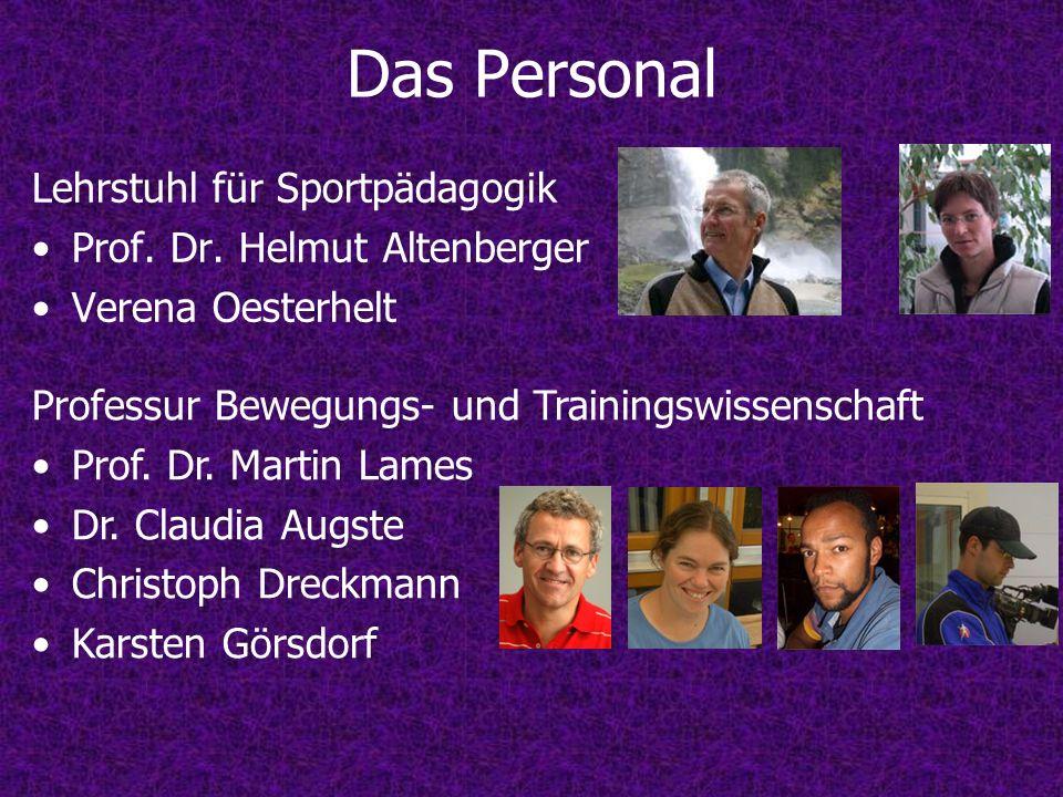 Lehrstuhl für Sportpädagogik Prof. Dr. Helmut Altenberger Verena Oesterhelt Professur Bewegungs- und Trainingswissenschaft Prof. Dr. Martin Lames Dr.