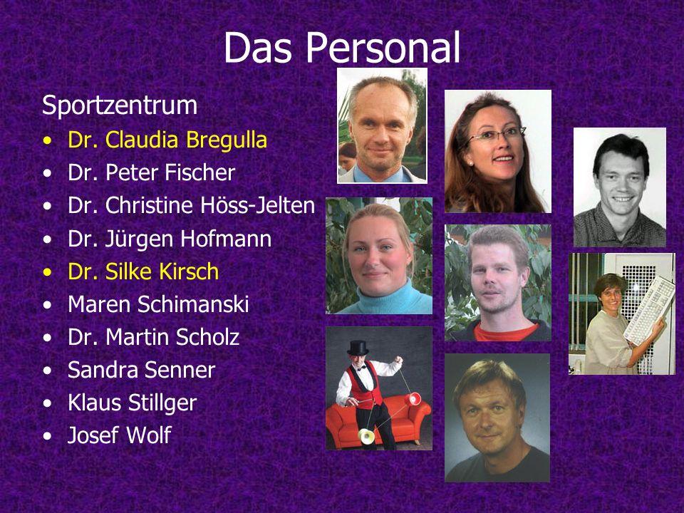 Das Personal Sportzentrum Dr. Claudia Bregulla Dr. Peter Fischer Dr. Christine Höss-Jelten Dr. Jürgen Hofmann Dr. Silke Kirsch Maren Schimanski Dr. Ma