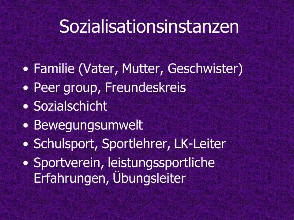 Sozialisationsinstanzen Familie (Vater, Mutter, Geschwister) Peer group, Freundeskreis Sozialschicht Bewegungsumwelt Schulsport, Sportlehrer, LK-Leiter Sportverein, leistungssportliche Erfahrungen, Übungsleiter