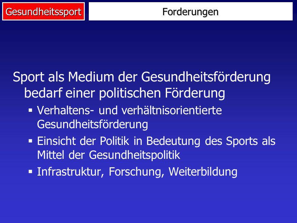 Gesundheitssport Sport als Medium der Gesundheitsförderung bedarf einer politischen Förderung Verhaltens- und verhältnisorientierte Gesundheitsförderu