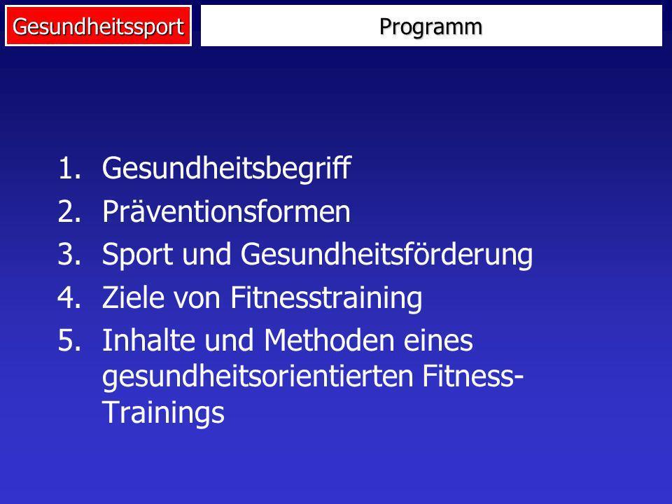 GesundheitssportProgramm 1.Gesundheitsbegriff 2.Präventionsformen 3.Sport und Gesundheitsförderung 4.Ziele von Fitnesstraining 5.Inhalte und Methoden