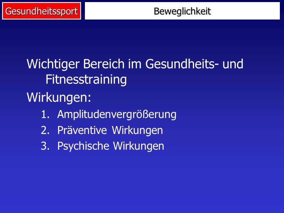 Gesundheitssport Wichtiger Bereich im Gesundheits- und Fitnesstraining Wirkungen: 1.Amplitudenvergrößerung 2.Präventive Wirkungen 3.Psychische Wirkung
