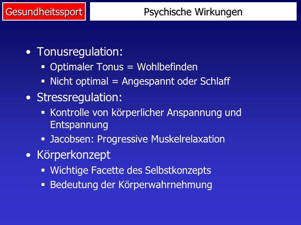 Gesundheitssport Psychische Wirkungen Tonusregulation: Optimaler Tonus = Wohlbefinden Nicht optimal = Angespannt oder Schlaff Stressregulation: Kontro