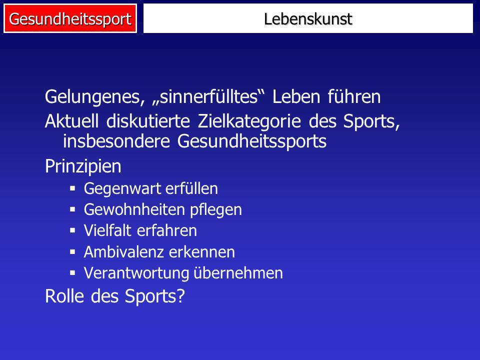 Gesundheitssport Gelungenes, sinnerfülltes Leben führen Aktuell diskutierte Zielkategorie des Sports, insbesondere Gesundheitssports Prinzipien Gegenw
