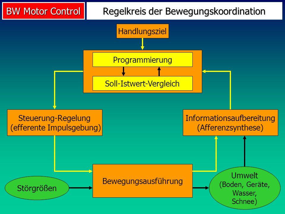 BW Motor Control Handlungsziel Steuerung-Regelung (efferente Impulsgebung) Bewegungsausführung Programmierung Regelkreis der Bewegungskoordination Inf