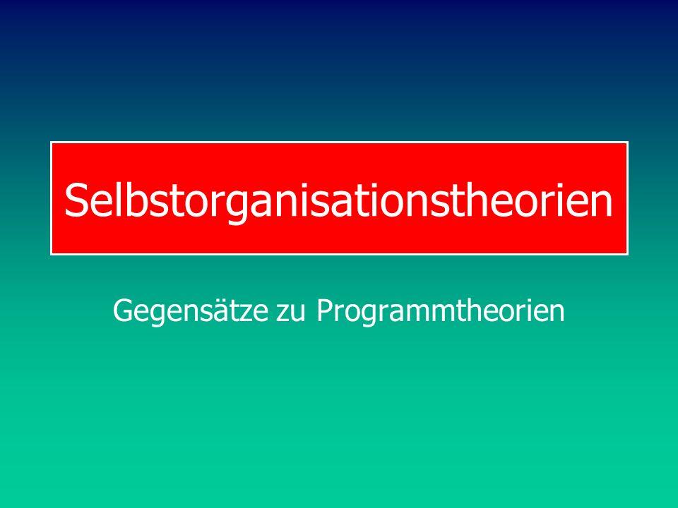 Selbstorganisationstheorien Gegensätze zu Programmtheorien