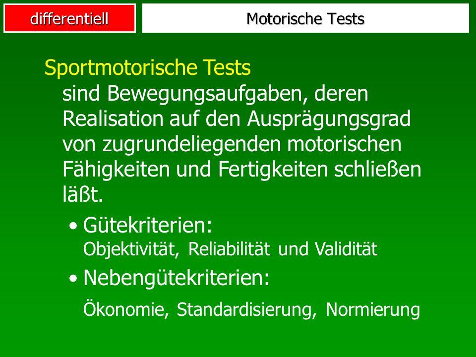 differentiell Motorische Tests Sportmotorische Tests sind Bewegungsaufgaben, deren Realisation auf den Ausprägungsgrad von zugrundeliegenden motorischen Fähigkeiten und Fertigkeiten schließen läßt.