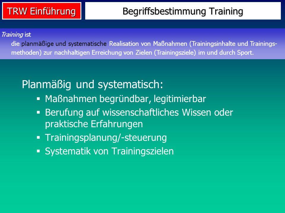TRW Einführung Begriffsbestimmung Training Planmäßig und systematisch: Maßnahmen begründbar, legitimierbar Berufung auf wissenschaftliches Wissen oder