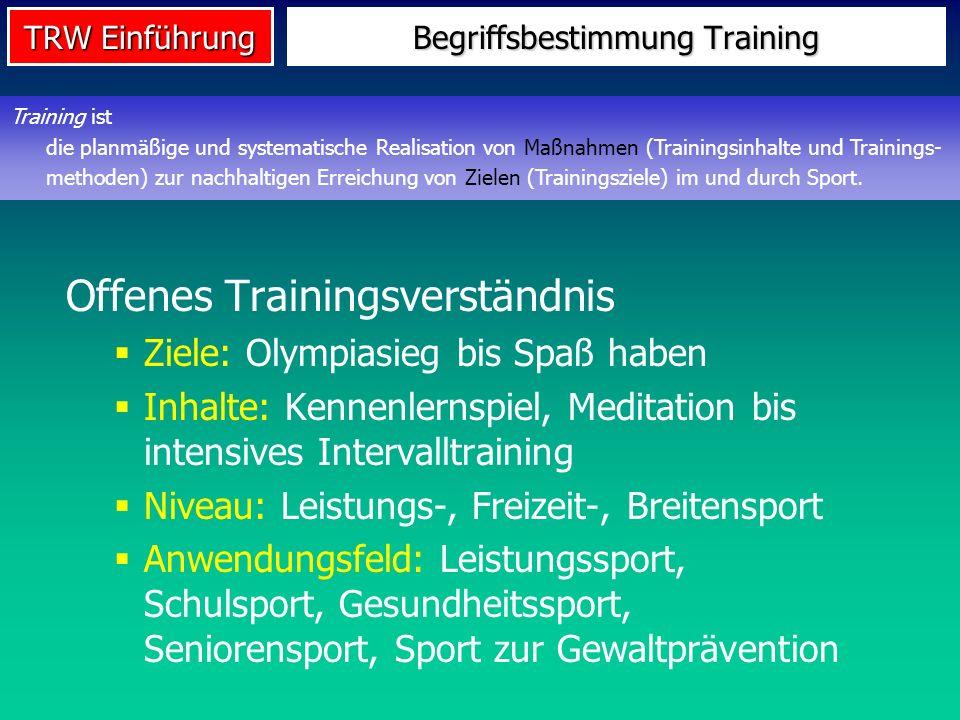 TRW Einführung Begriffsbestimmung Training Offenes Trainingsverständnis Ziele: Olympiasieg bis Spaß haben Inhalte: Kennenlernspiel, Meditation bis int