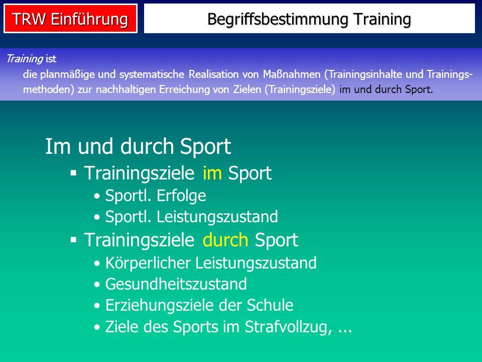 TRW Einführung Begriffsbestimmung Training Im und durch Sport Trainingsziele im Sport Sportl. Erfolge Sportl. Leistungszustand Trainingsziele durch Sp