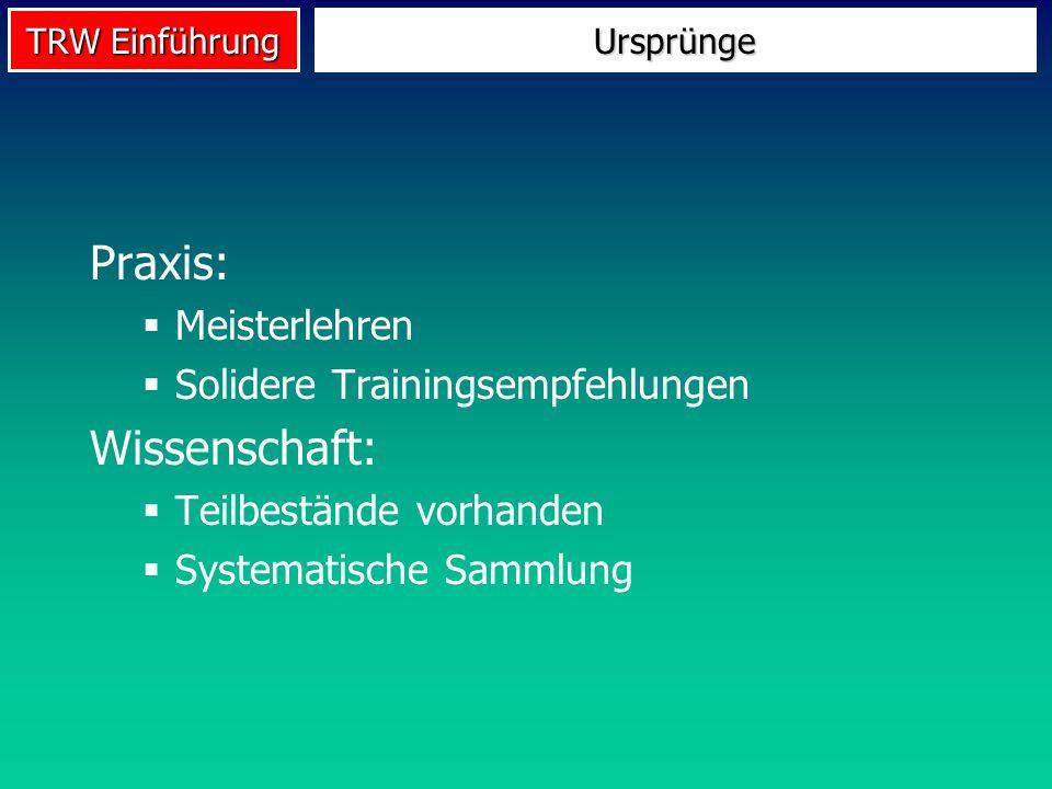 TRW Einführung Praxis: Meisterlehren Solidere Trainingsempfehlungen Wissenschaft: Teilbestände vorhanden Systematische Sammlung Ursprünge