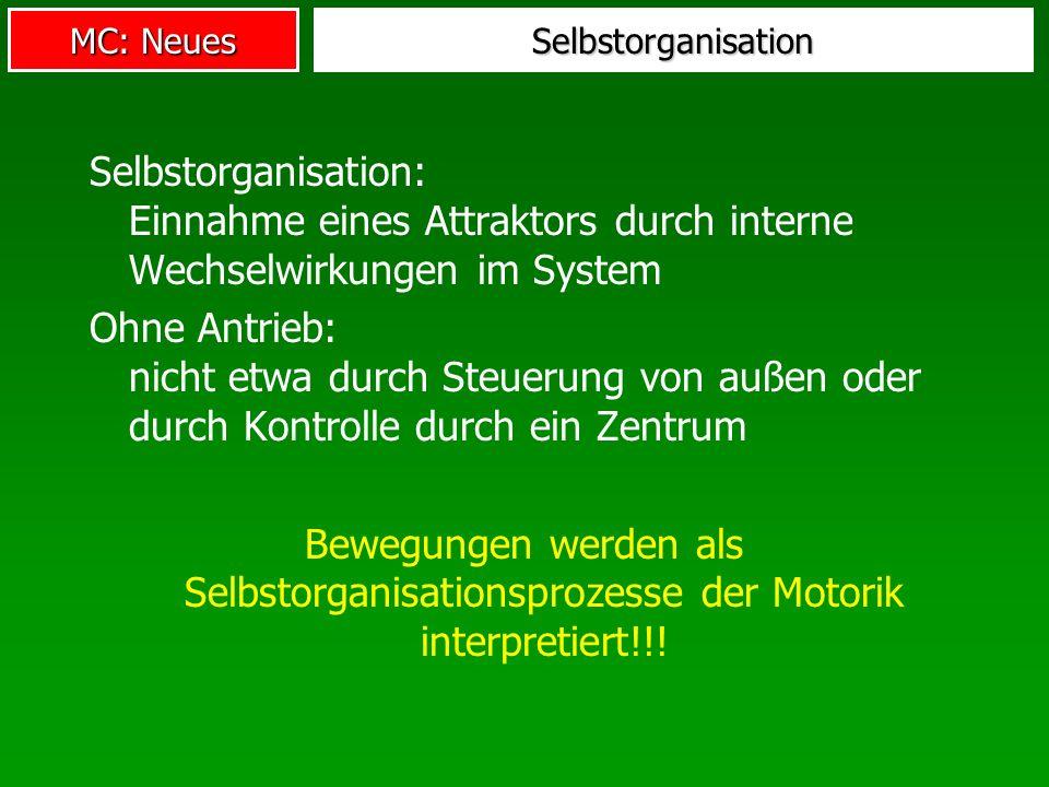 MC: Neues Selbstorganisation Selbstorganisation: Einnahme eines Attraktors durch interne Wechselwirkungen im System Ohne Antrieb: nicht etwa durch Steuerung von außen oder durch Kontrolle durch ein Zentrum Bewegungen werden als Selbstorganisationsprozesse der Motorik interpretiert!!!