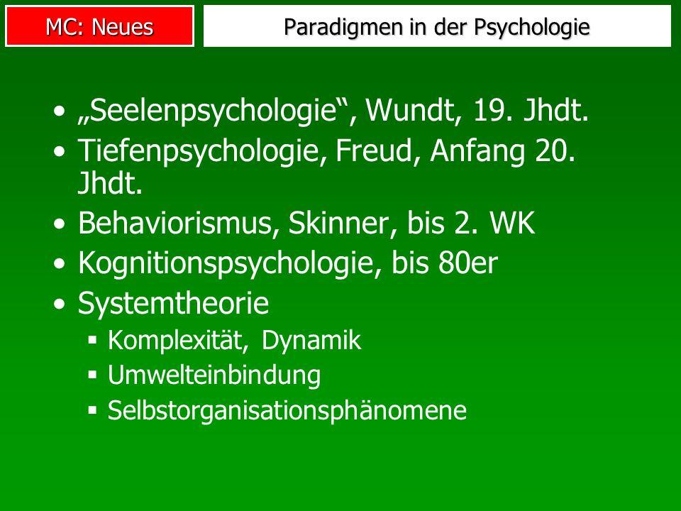 MC: Neues Paradigmen in der Psychologie Seelenpsychologie, Wundt, 19.