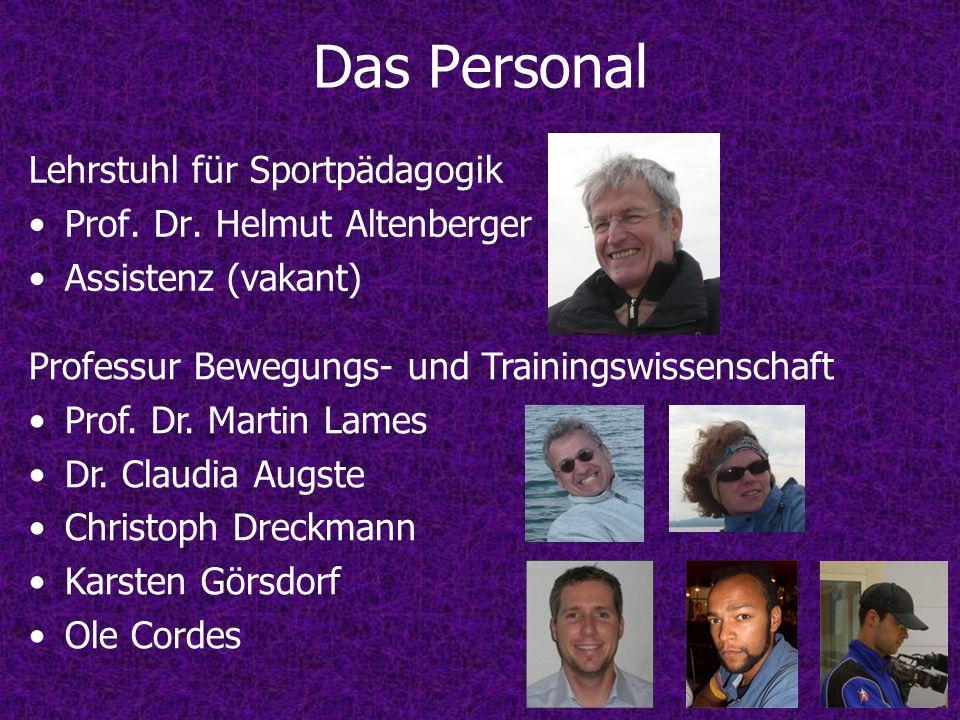 Lehrstuhl für Sportpädagogik Prof. Dr. Helmut Altenberger Assistenz (vakant) Professur Bewegungs- und Trainingswissenschaft Prof. Dr. Martin Lames Dr.