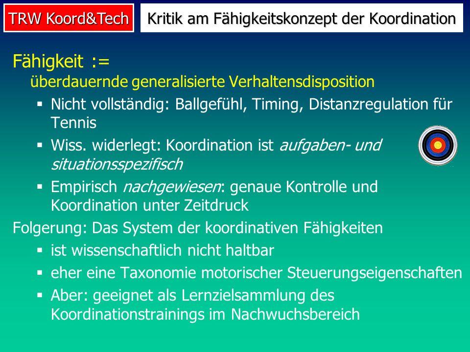 TRW Koord&Tech Fähigkeit := überdauernde generalisierte Verhaltensdisposition Nicht vollständig: Ballgefühl, Timing, Distanzregulation für Tennis Wiss