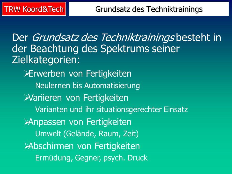 TRW Koord&Tech Grundsatz des Techniktrainings Der Grundsatz des Techniktrainings besteht in der Beachtung des Spektrums seiner Zielkategorien: Erwerbe