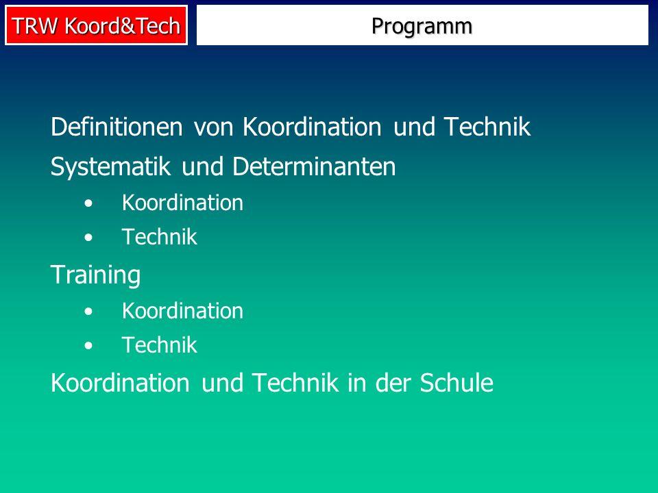 TRW Koord&Tech Programm Definitionen von Koordination und Technik Systematik und Determinanten Koordination Technik Training Koordination Technik Koor