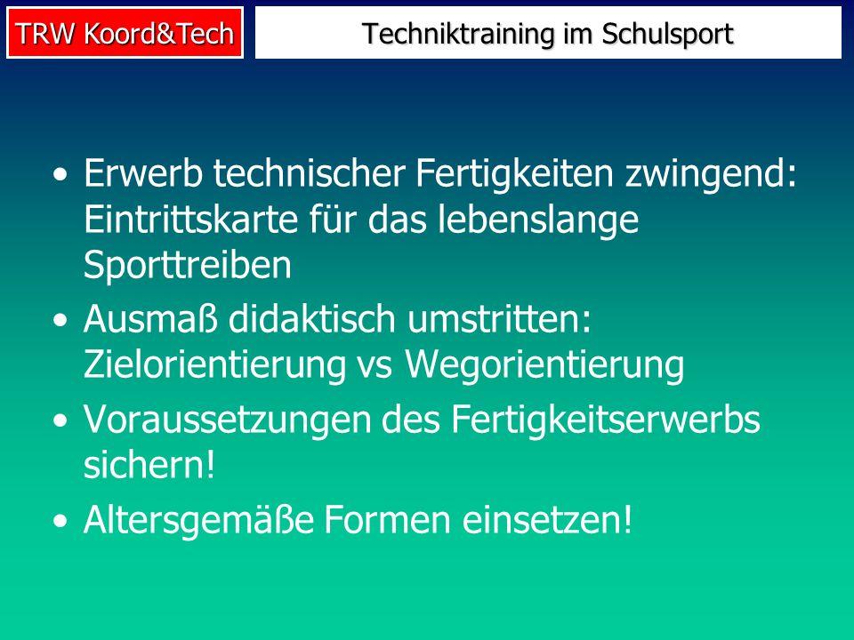 TRW Koord&Tech Erwerb technischer Fertigkeiten zwingend: Eintrittskarte für das lebenslange Sporttreiben Ausmaß didaktisch umstritten: Zielorientierun