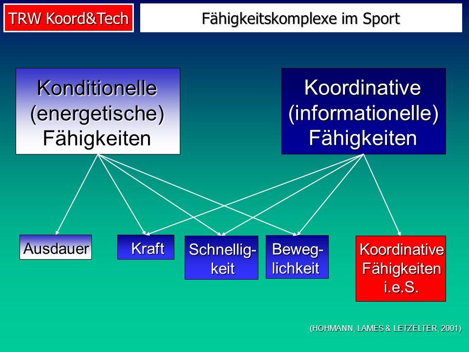 TRW Koord&Tech Fähigkeitskomplexe im Sport (HOHMANN, LAMES & LETZELTER, 2001) Konditionelle(energetische)Fähigkeiten Koordinative(informationelle)Fähi