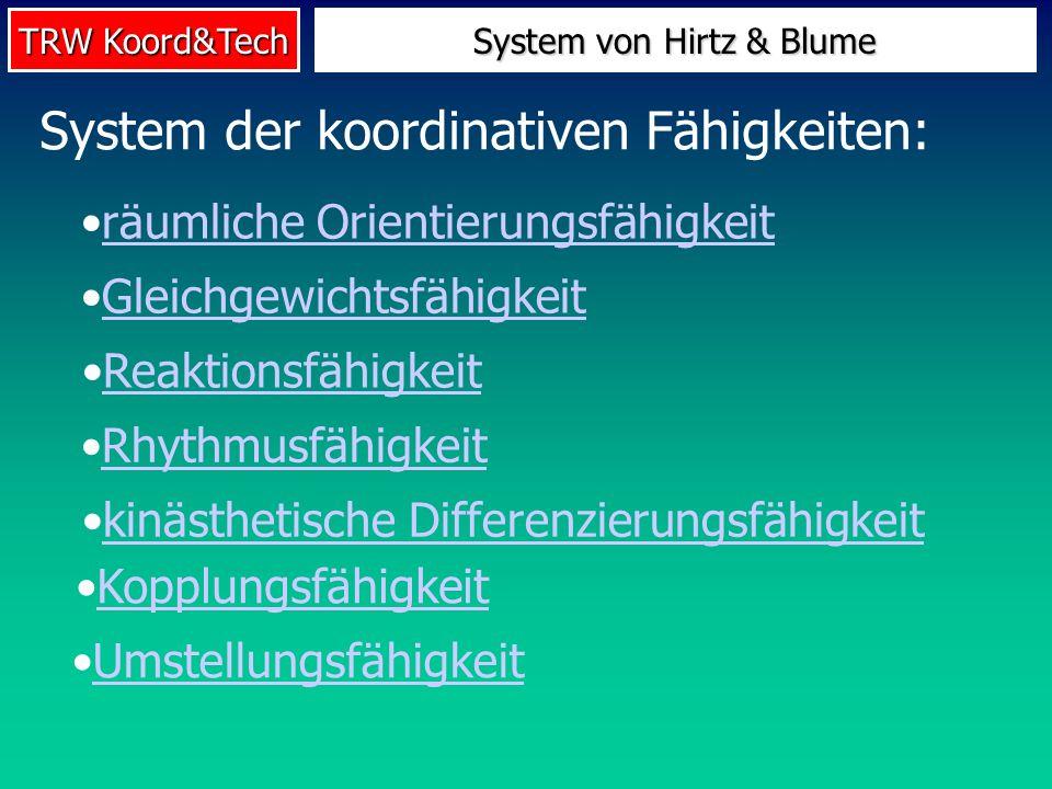 TRW Koord&Tech System der koordinativen Fähigkeiten: räumliche Orientierungsfähigkeit Gleichgewichtsfähigkeit Reaktionsfähigkeit Rhythmusfähigkeit kin