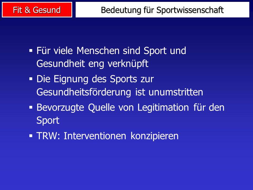 Fit & Gesund Für viele Menschen sind Sport und Gesundheit eng verknüpft Die Eignung des Sports zur Gesundheitsförderung ist unumstritten Bevorzugte Quelle von Legitimation für den Sport TRW: Interventionen konzipieren Bedeutung für Sportwissenschaft