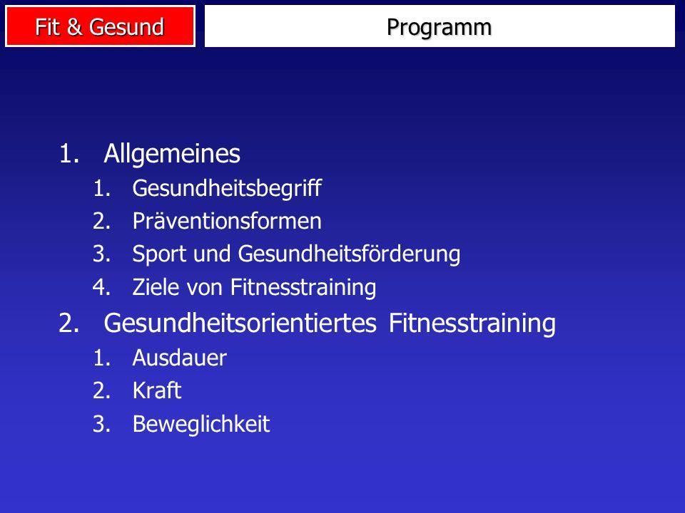 Fit & Gesund Programm 1.Allgemeines 1.Gesundheitsbegriff 2.Präventionsformen 3.Sport und Gesundheitsförderung 4.Ziele von Fitnesstraining 2.Gesundheitsorientiertes Fitnesstraining 1.Ausdauer 2.Kraft 3.Beweglichkeit
