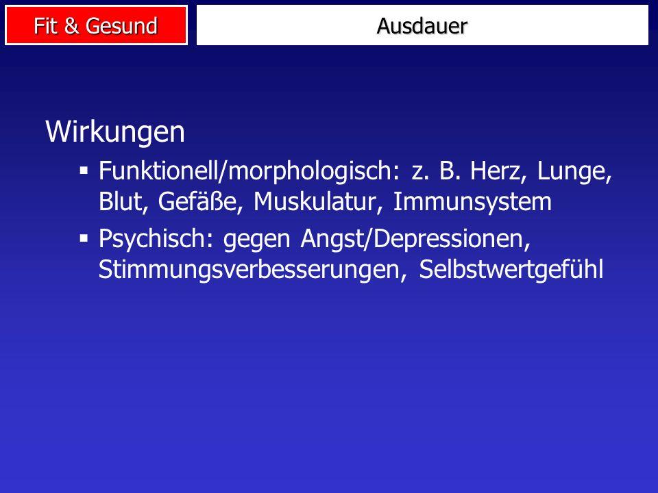 Fit & Gesund Wirkungen Funktionell/morphologisch: z. B. Herz, Lunge, Blut, Gefäße, Muskulatur, Immunsystem Psychisch: gegen Angst/Depressionen, Stimmu